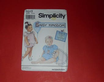 Vintage Sewing Pattern Uncut Baby Girl Outfit Romper Simplicity Daisy Kingdom  #8513 Size A NB-18M Newborn To 18 Months