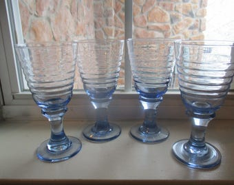 RESERVED FOR CHERYL Set of Eight Vintage Libbey Sirrus Light Blue Ribbed Goblets