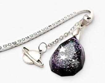 Galaxy tear drop gem bookmark - space bookmark, nebula bookmark, galaxy bookmark, space book mark, star bookmark, stars, starry