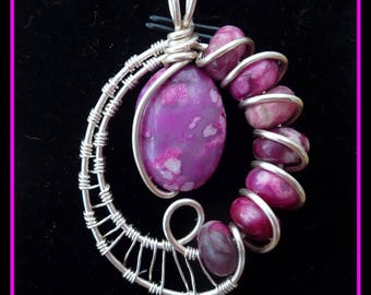 Pink Crazy Lace Agate Pendant, wire wrapped in Silver with chain