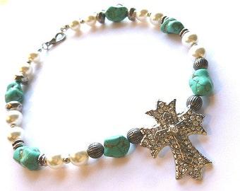 Turquoise, Pearl, Silvertone Beaded Vintage Cross Necklace, OOAK Choker Cross Necklace, Handmade Cross Necklace, Silver Cross with Beads