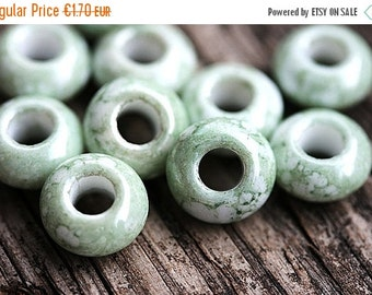 ON SALE Large hole beads, Marbled green, antique luster, czech glass, big hole, rondelle - 12x6mm - 10Pc - 2474