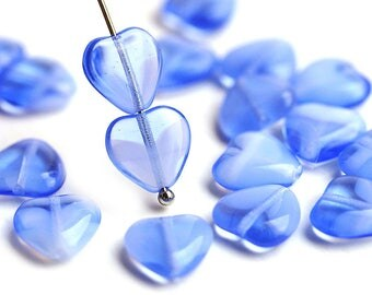10mm Mixed Blue Heart beads, Opal Blue White czech glass pressed beads, 20Pc - 1584