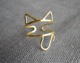 Solid Gold 14K Cat Ring -  Ears and Tail Adjustable - Sustainable Ethical White Rose or Yellow Gold - Made to Order