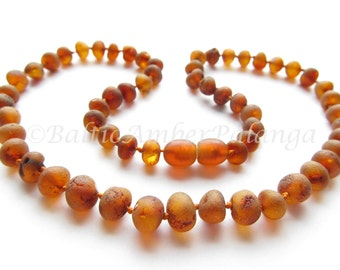 Raw Unpolished Baltic Amber Necklace Rounded Dark Cognac Color Beads. For Adults