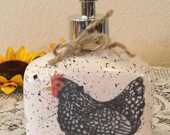 Rooster Lotion Dispenser Rooster Decor Housewarming Gift Country Decor Rooster Lover Home Decor Handmade  Rooster Kitchen  Country Home