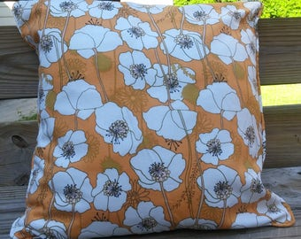 Reversible Summer Poppies  Pillow Cover-20 x 20 - Self Corded with Invisible Zipper * ON SALE *