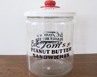 Vintage Large Glass Tom's Peanut Butter Sandwiches Jar Canister with Metal Lid