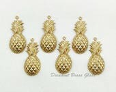 12 pcs. Pineapple Charm, Brass Pineapple Pendant, Raw Brass Stamping, 12mm x 28mm - (r298)