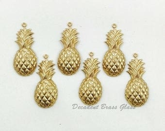 Pineapple Charm, Brass Pineapple Pendant, Raw Brass Stamping, 12mm x 28mm - 6 pcs. (r298)