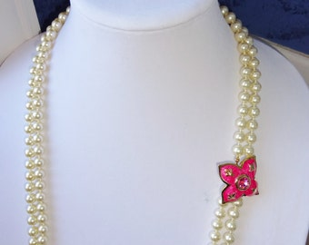 Vintage Long Faux Pearl Double Strand Necklace Hot Pink Rhinestone Enameled Clasp Roland