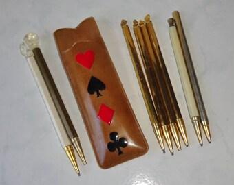 Vintage Bridge Pencils and Case Set of Metal Hearts Spades Diamonds Shamrocks Bridge Plastic Case