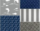Custom Listing- Gray gish, navy hooks, gray stripe, gray minky, and navy minky crib coordinates