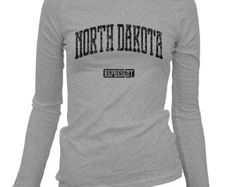 Women's North Dakota Represent Long Sleeve Tee - S M L XL 2x - Ladies' North Dakota T-shirt, Gift For Her, Fargo, Bismarck, State Shirt