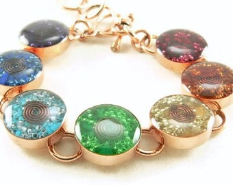 Orgone Energy Bracelet - Chakra Rainbow Bracelet in Solid Copper - Chakra Gemstones - Balance and Healing - Artisan Jewelry