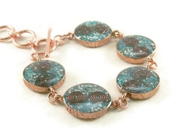 Orgone Energy Circle Link Bracelet in Solid Copper with Turquoise - Orgone Energy Jewelry - Orgone Bracelet - OOAK - Artisan Jewelry