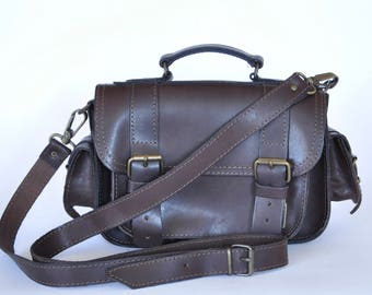 Dark brown leather Small camera bag/Satchel/cross body/mesenger/Briefcase/Women leather bag