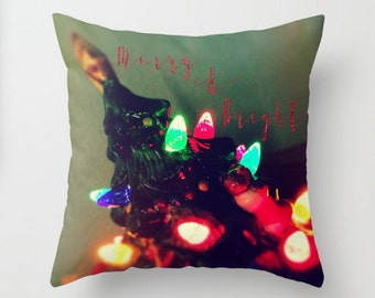 Christmas Accent Decor, Merry & Bright Christmas Tree Festive Pillow, Kitsch Accent Cushion - 2 sizes available