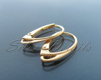Best Quality Yellow Gold Plated Vermeil over Sterling Silver Euro Lever-backs Ear Hooks 925  Earring finding reference code L1Y