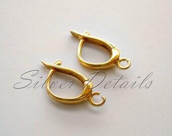 Gold Vermeil Euro Lever-backs Ear HooksUnique Shape Earring finding reference code L96Y