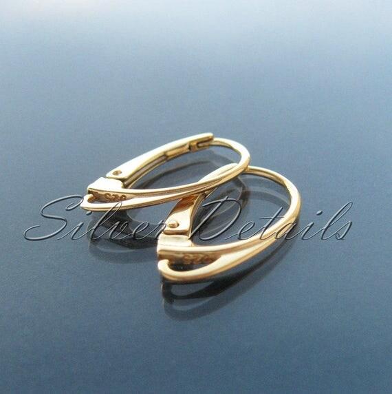 Best Quality Gold Vermeil over Sterling Silver Euro Lever-backs Ear Hooks 925 Bestseller model ES1 AU