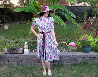 80's Rose print 40's style slinky dress size M