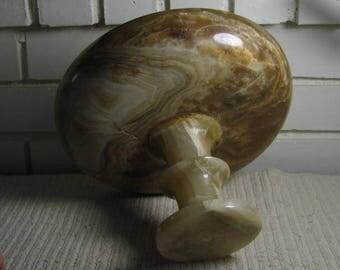 Vtg Turkish Alabaster pedestal fruit bowl