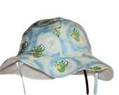 Baby Sun Hat, Summer Hat, Cotton Toddler Hat, Gender Neutral Hat, Newborn Hat, Boy Or Girl Sun Hat, Floppy Beach Hat, Frogs, Made To Order