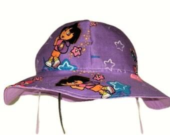 Purple Dora Sun Hat, Toddler Girl Sun Hat, Summer Hat, Cotton Hat, Girls Hat, Girls Clothes, Beach Hat, Floppy Hat Made To Order