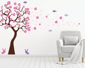 Children tree decal - Nursery wall decal - blowing tree decal - Vinyl tree - blowing cherry blossom tree