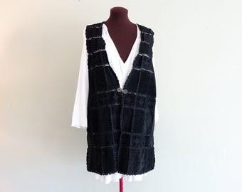Vintage Viking Medieval Black Suede  Leather Stitched Patchwork Sleeveless Top Vest Tunic Renaissance Style Premitive Clasp
