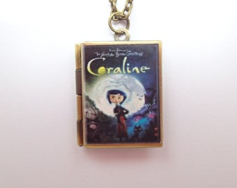 Coraline Inspired Resin Covered Locket Book Necklace