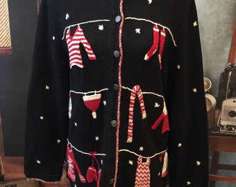 Vintage Ugly Christmas Sweater Black Clothes Line Casual Corner Annex Size 0X