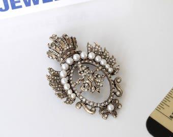 Vintage DeNicola RARE Crown /Regal/ Heraldic  Figural Brooch Pin #899