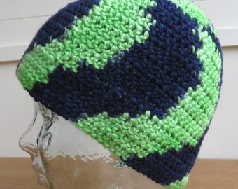 Crochet beanie hat in navy blue and lime green