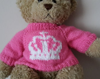 Teddy Bear Sweater - Hand knitted - Pink with Crown Motif - fits Build a Bear