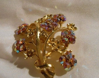 50% OFF SALE Aurora Borealis Stone Flower Bouquet Brooch