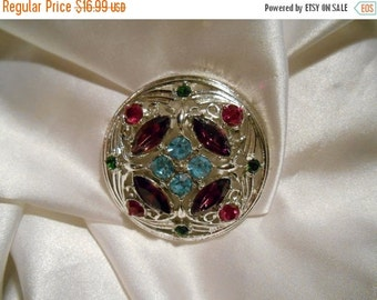 50% OFF SALE Sarah Coventry Springtime Silver Round Colorful Rhinestone Brooch