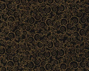 Metallic Gold Swirls and Curliques on Black from the Holiday lineTimelessTreasures