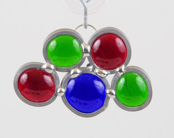 Christmas holiday stained glass bead ornament suncatcher red green blue