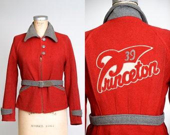 1930s Princeton School Jacket Crimson Wool Grommet Zip Lettermans Jacket