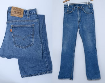 Vintage Levis 517 Dark Denim Orange Tag Blue Jeans 31 x 31