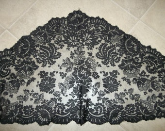 """Antique CHANTILLY Silk Lace Mantilla...Scarf... Shawl...Large..Triangular Shape...70"""" by 21""""...Very Good Condition"""