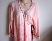 SALE Robe long kimono style wrap silky satin geisha dressing robe M L
