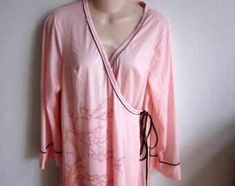 Robe long kimono style wrap silky satin geisha dressing robe M L