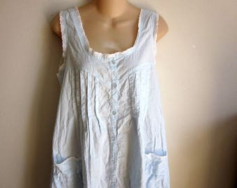 sweet cotton nightgown cozy  button front prairie style M