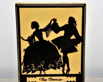 "1929 ""The Dance"" Silhouette plaque - raised design - ceramic - victorian - shabby - by Buckbee, Brehm Co."