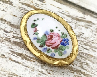 Antique Victorian guilloche brooch scatter pin, oval brooch white blue and pink roses guilloche, Pretty pink rose brooch. Late Victorian pin
