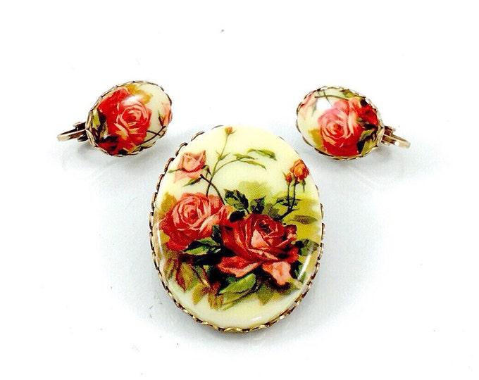 Vintage Western Germany Brooch & Earrrings, Demi Parure, Orange Rose Cameo. Orange Rose Brooch. Orange Rose Earrings. Victorian Style Rose.
