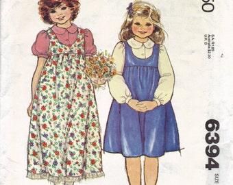 Girls Jumper and Blouse Pattern, Vintage 1970s Kids Dress Pattern, Peter Pan Collar, Sleeveless Dress, Long Sleeve or Short Sleeve Blouse